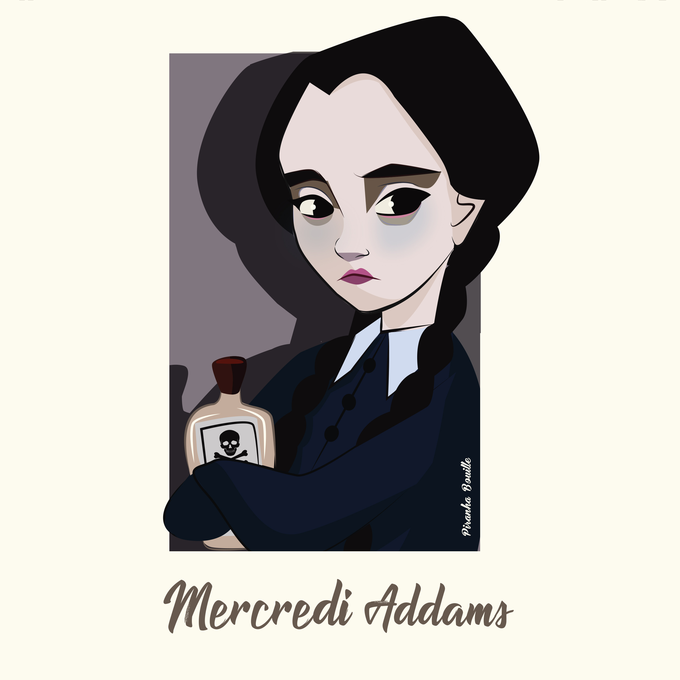 illustration mercredi addams par Piranha Bouille