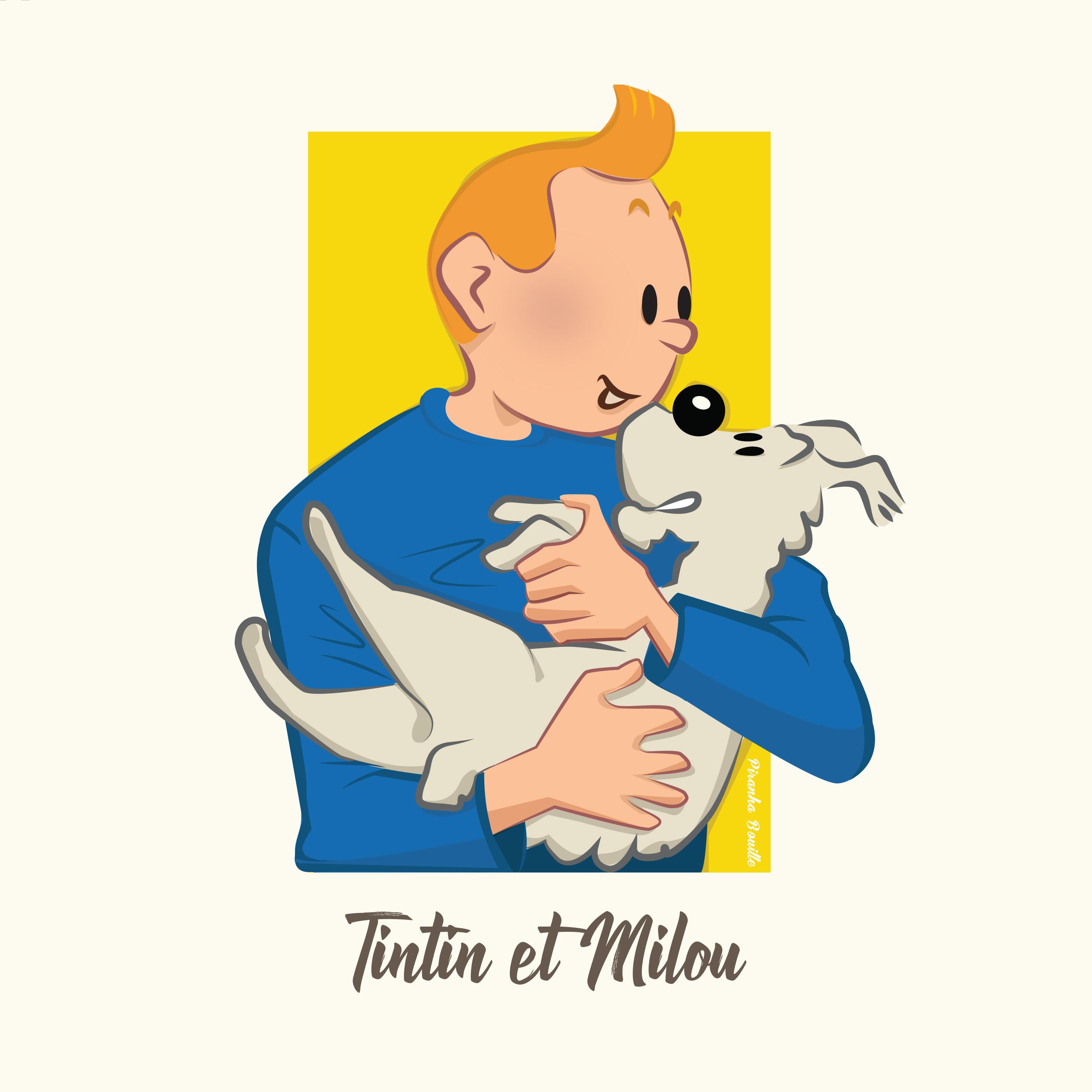 illustration de Tintin et Milou pour le challenge sixfanarts 2020